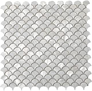 Diflart Oyster Mother of Pearl Shell Mosaic Tile, 10 Sheets/Box (Fan-Shaped, Pearl Shell)