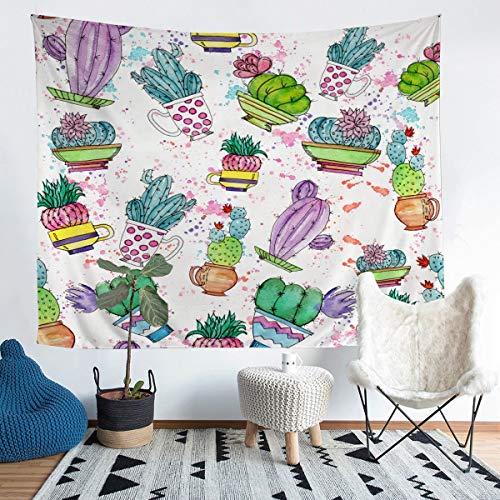 Tapiz con estampado de cactus para niñas y niños, lindo cactus floral para colgar en la pared, diseño boho, botánico, decoración de la habitación, teñido anudado, maceta, manta de cama, 152 x 201