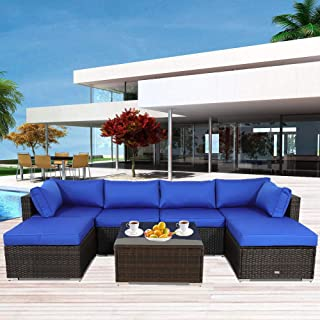 Outside Patio Furniture Brown Rattan Sofa Wicker Sectional Sofa Set Conversation Set Garden Couch Royal Blue Cushion 7pcs