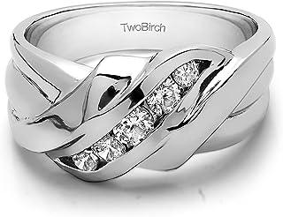 خاتم رجالي من الفضة الإسترلينية من تو بيرش مُضلّع من الفضة الإسترلينية مع ألماس (G,I2) (0.25 قيراط مقاس 13).