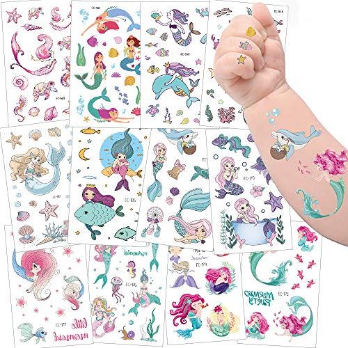 Tattoo Kinder,Jusduit Einhorn Meerjungfrau Dinosaurier Tier Weltraum Party Tattoos Set,Temporäre Tattoos Kinder Aufkleber für Mädchen Kindergeburtstag Mitgebsel Party (Meerjungfrau)