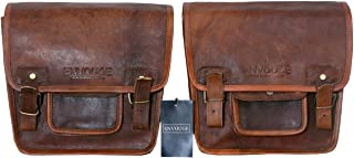 Saddle Bags for Motorcycles -Leather Panniers Brown Bag -Large Capacity Classic Saddlebags for Bike Scooter Honda Suzuki Yamaha HD Street Sportster Side Pouch panniers (2 Bags)