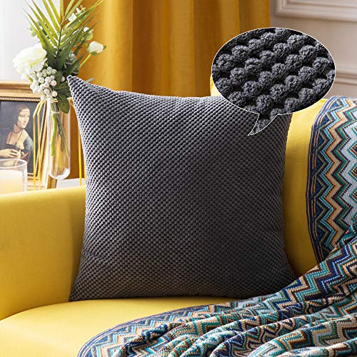 MIULEE Corduroy Granule Throw Pillow Covers Soft Pellets Solid Decorative Square Cushion Case for Sofa Bedroom Grey 24'x24'1 Piece