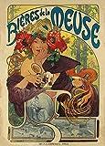 Póster A3 de reproducción de póster A3 con texto en inglés 'Vintage Beers, Wines and Spirits Beer DE LA MEUSE, 1897 por Alphonse Mucha, 250 g/m²