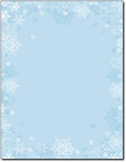 Blue Snowflake Border Holiday Stationery - 80 Sheets