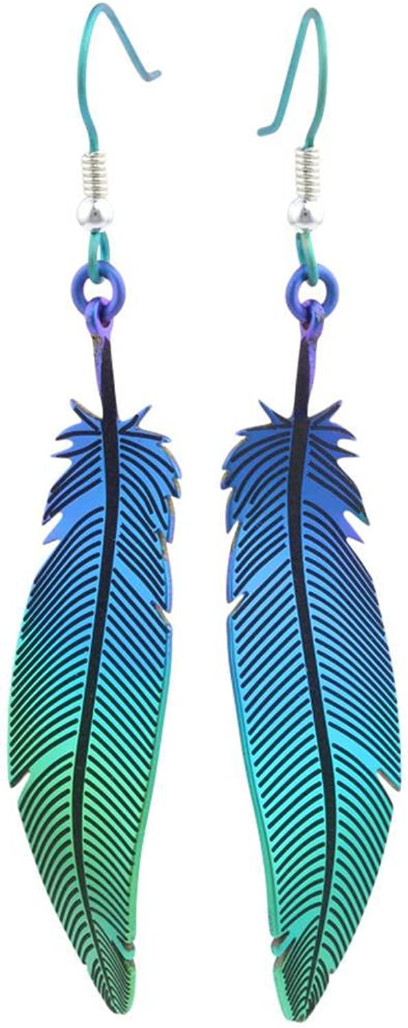 Ti2 Titanium Womens Woodland Feather Drop Earrings  Green