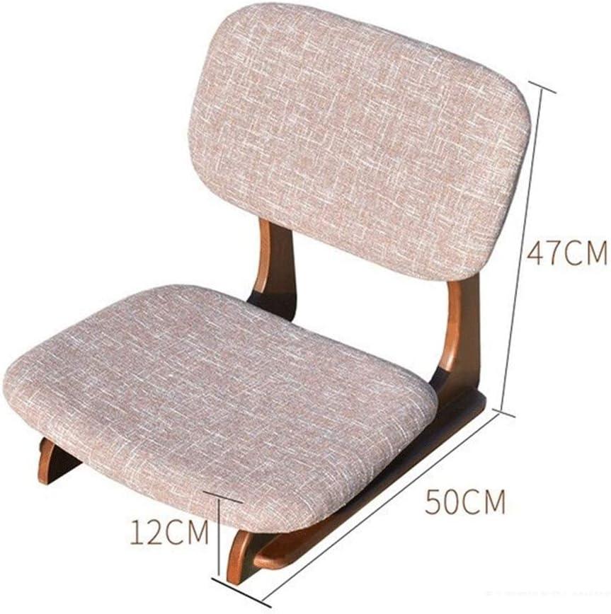 QLL Japonais Fort Chaise De Plancher Tatami Siège Arrière Soutien Salon Chambre Meubles Méditation Jeux Chaise de Maison (Color : Walnut Gray) Wood Color Gray
