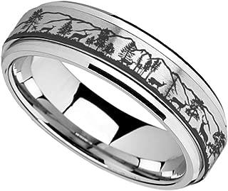 Thorsten ELK Antler Rack Animal Deer Print Pattern Flat Tungsten Ring 8mm Wide Wedding Band from Roy Rose Jewelry
