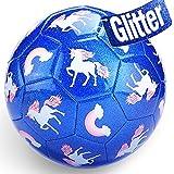 CubicFun Balon Futbol Niños con Bomba y Bolsa de Malla, Balon de Futbol Unicornio Efecto Brillo Pelota Futbol Juguetes Niños 3 4 5 6 7 años, Bonito Regalo para Niñas Niños, Tamaño 3