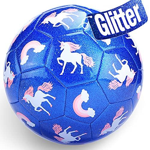 Fußball Spielzeug Mit Ballpumpe und Netz, Neuer Kinder Fußball Ball für das Training Drinnen Draußen, Fußball Größe 3 Einhorn Geschenke Spielzeug für 2 3 4 5 6 7 8 Jahre alt Kinder Junge Mädchen