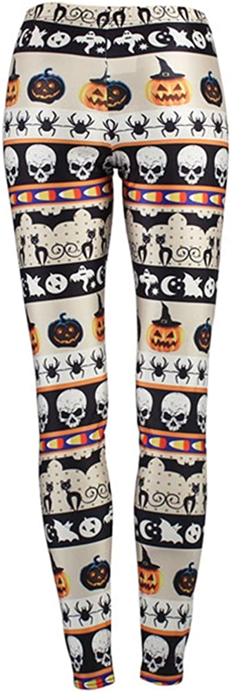 Sister Amy Women's Halloween Pumpkin Skulls Printed Ankle Elastic Tights Legging Halloween
