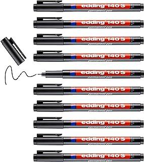 edding 140 S feutre permanent - noir - 10 feutres - pointe ronde 0,3 mm - stylo pour écrire sur du verre, du plastique, de...