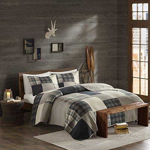 Woolrich 100% Cotton Quilt Reversible Cabin Lifestyle Design All Season, Breathable Coverlet Bedspread Bedding Set, Matching Shams, King/Cal King(110