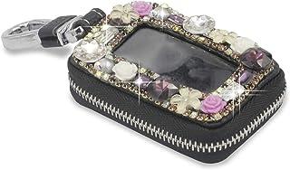 Bestbling Car Key Holder Flower 3D Handmade Leather Auto Key Case Car Key Gourd Leather Holder Cover Case with Luxury Blin...