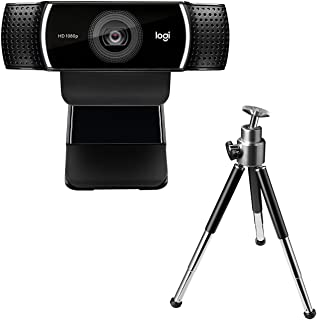Logitech C922 Pro Stream Webcam, Full 1080p HD Camera, Background Replacement Technology for YouTube or Twitch Streaming