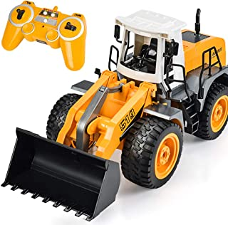 DOUBLE  E RC Front Loader 8 Channel Full Functional RC Bulldozer Truck Electric Remote Control Tractor with Lights & Sounds