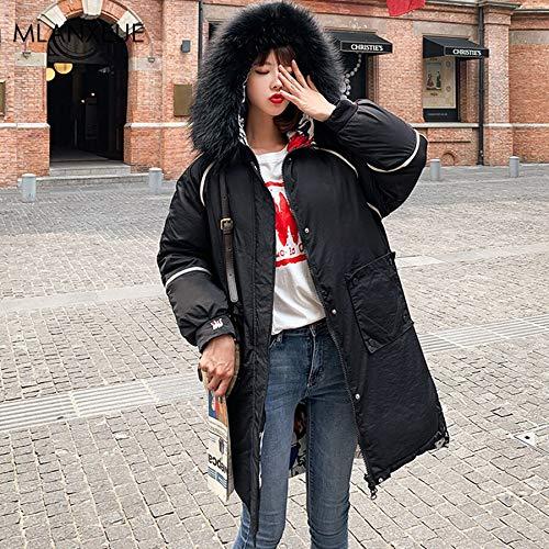 KOUPNLTM Parka À Capuche Femme Hiver Long Coton Manteaux Femme Vogue Warm Parka Vestes XXL Noir