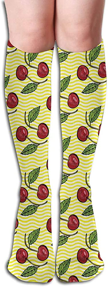 Men's and Women's Funny Casual Combed Cotton Socks,Hand Drawn Cherry Design on Yellow Toned Stripes Summer Season Sweet Fruits