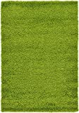 Unique Loom Solo Solid Shag Collection Area Modern Plush Rug Lush & Soft, 4' 0 x 6' 0, Grass Green