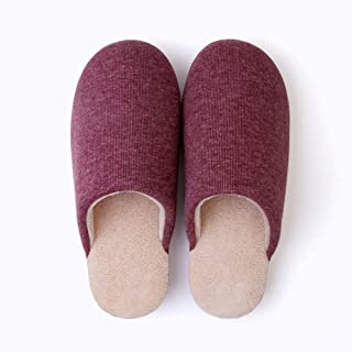 Cotton Slippers Female Men Winter Plush Lined Warm Slippers Cosy Outdoor Eva Anti Slip Slippers for Indoor Outdoor,Red,39/40