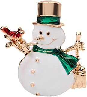 Qinlee Women Brooches Crystal Rhinestone Christmas Snowman Elegant Brooch Pins Charm Clothing Accessories for Christmas Party