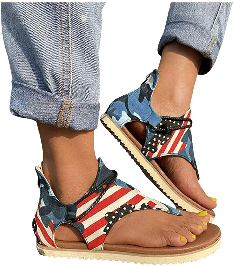 Ulanda Womens Posh Gladiator Sandals Premium Elegant Flat Heel Back Zipper Sandals for Women Summer Casual Sandals