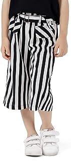 TUZAMA ガールズ 古典的なストライプ要素の広い脚のズボン