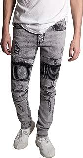 KDNK Men's Skinny Fit Stretch Denim 5 Pocket Zipper Fly Distressed Moto Biker Jeans