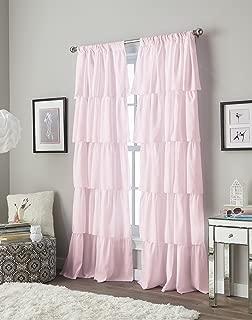 Flounced Ruffle Rod Pocket Curtain Panel, 63 inch, Pink