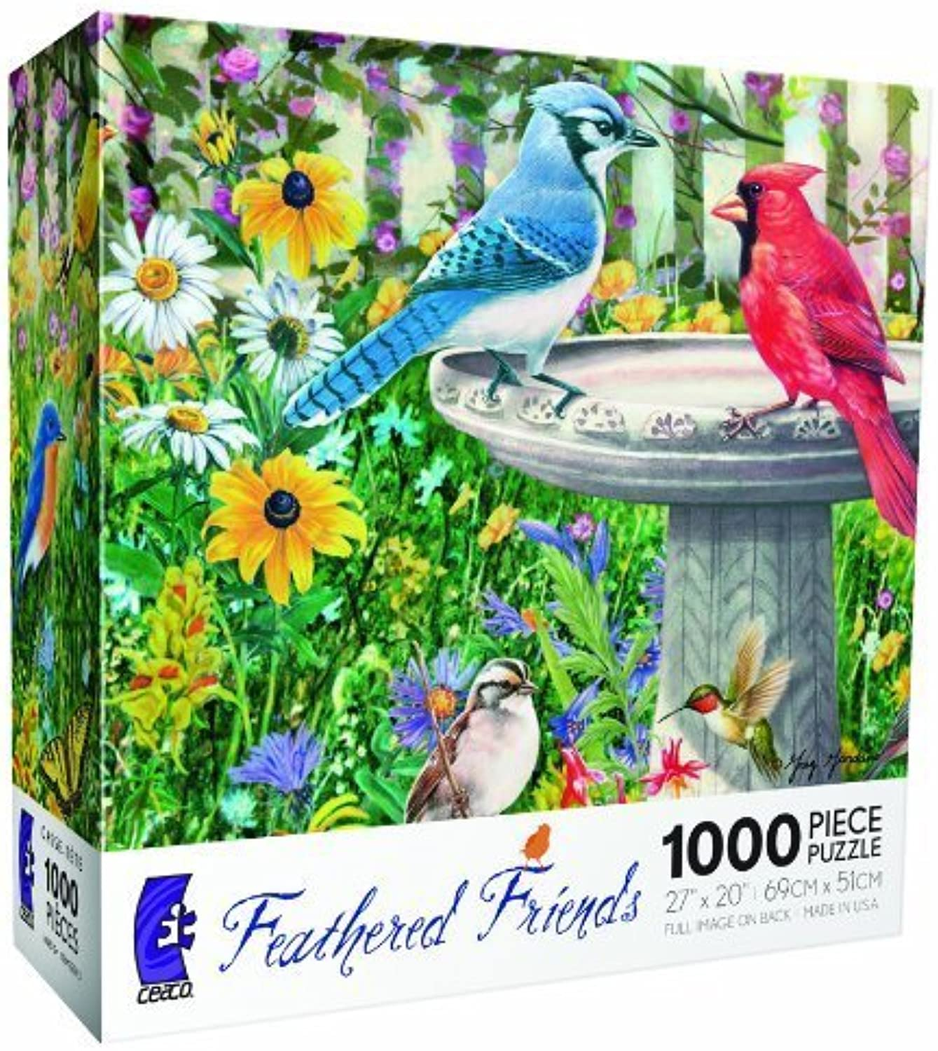 Backyard Birdbath Featherot Friends series - 1000 pc Jigsaw Puzzle by Ceaco by Ceaco