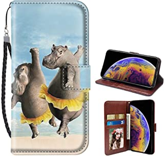 iPhone Xr Wallet Case Hippo Pattern Design Protective PU Leather Flip Cover with Credit Card Slots and Side Cash Pocket+Magnetic Clasp Closure