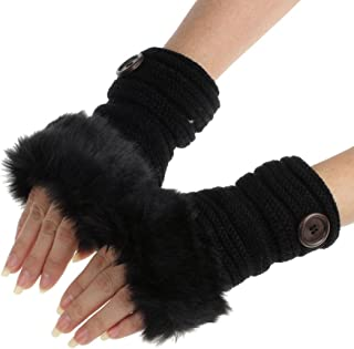 DZT1968 1PCWomen Winter Faux Rabbit Fur Wrist Fingerless Gloves Mittens (Black)