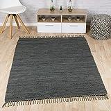 Taracarpet Flachweb-Baumwollteppich handgewebter handweb-Teppich Fleckerl Amrum aus 100% Baumwolle -auch bekannt als Dhurry oder Flickenteppich Uni anthrazit 120x180 cm