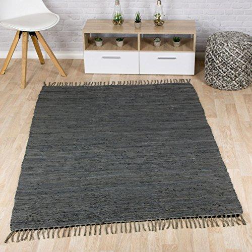 Taracarpet Flachweb-Baumwollteppich handgewebter handweb-Teppich Fleckerl Amrum aus 100% Baumwolle -auch bekannt als Dhurry oder Flickenteppich Uni anthrazit 060x120 cm