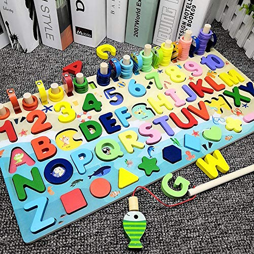 FMRXK Wooden Number Alphabet Puzzle Sorting Montessori Toys for Toddlers Shape Counting Game for Age 3 4 5 Year olds Kids - Preschool Education Math Stacking Blocks Learning Toy