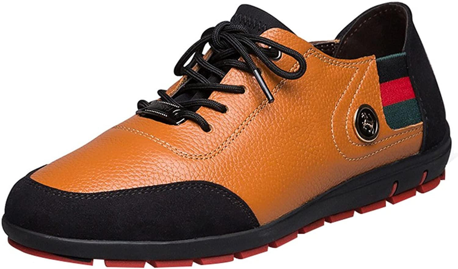 Snowman Lee Men's Genuine Leather Fashion Sneakers shoes