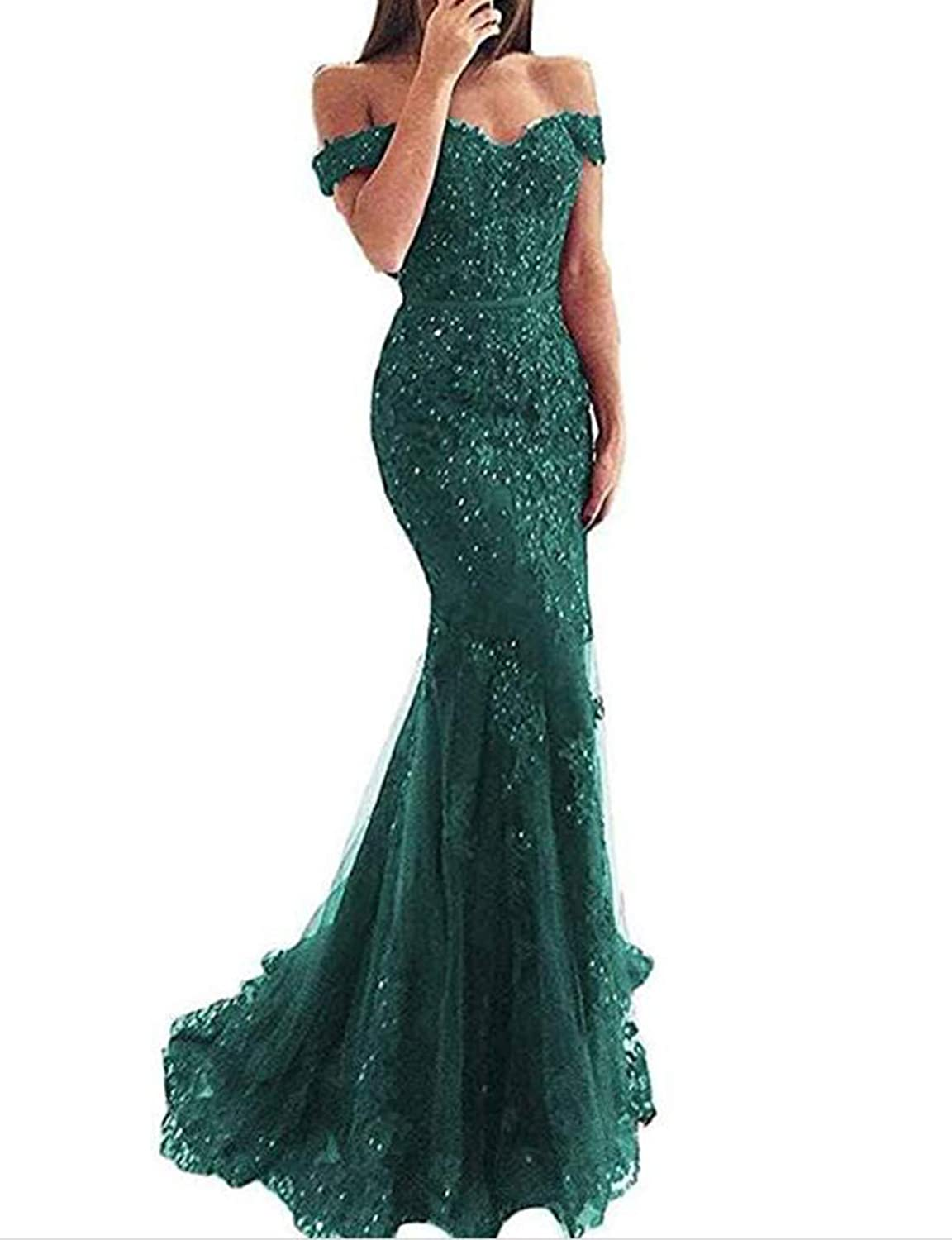 Alicebridal Women's Sexy V Neck Off Shoulder Mermaid Prom Dresses Lace Appliques Formal Evening Party Gowns