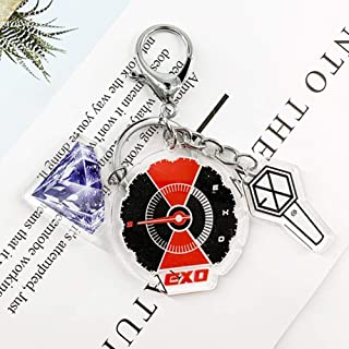 Raleighsee Kpop Blackpink NCT Twice EXO GOT7 Cartoon Logo Shape Acrylic Keychain Colorful Letter Printing Pendant Key Rings Hot Gift for Fans(EXO)