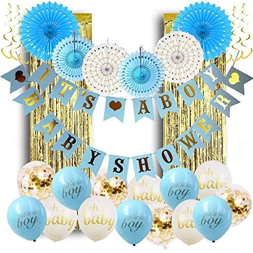 Dawana Baby Party Baby Shower Junge Boy Deko Set 32 Teile Dekoration Luftballons Gold Blau Weiß Wimpelkette Lametta