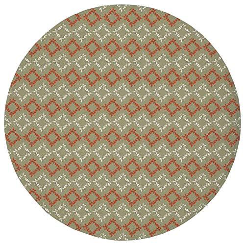 Round Rug Mat Carpet,Geometric,Rectangle Square Shapes with Flowers Ornament Floral Arrangement Decorative,Vermilion Cream Sage Green,Flannel Microfiber Non-slip Soft Absorbent,for Kitchen Floor Bathr