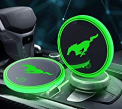 YOJOHUA 2.75 Inch LED Car Cup Holder Lights for Mustang, Interior Accessories Coaster with 7 Colors Changing USB Charging Mat, Luminescent Cup Pad, Atmosphere Lamp Decoration Light (2 PCS)