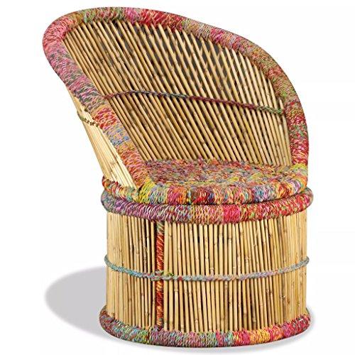vidaXL Sessel Handgefertigt Stuhl Bambusstuhl Korbsessel Korbstuhl Loungesessel Relaxsessel Wohnzimmer Lounge Bambus mit Chindi-Details