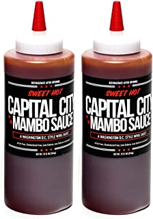Capital City Sweet Hot Mambo Sauce - A Washington DC Wing Sauce (12 oz); Perfect for wings, chicken, pork, beef, and seafood (Sweet Hot, 2 Pack)