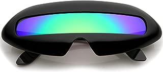 Futuristic Cyclops Neon Shield Color Mirror Lens Wrap Sunglasses (Black Midnight)