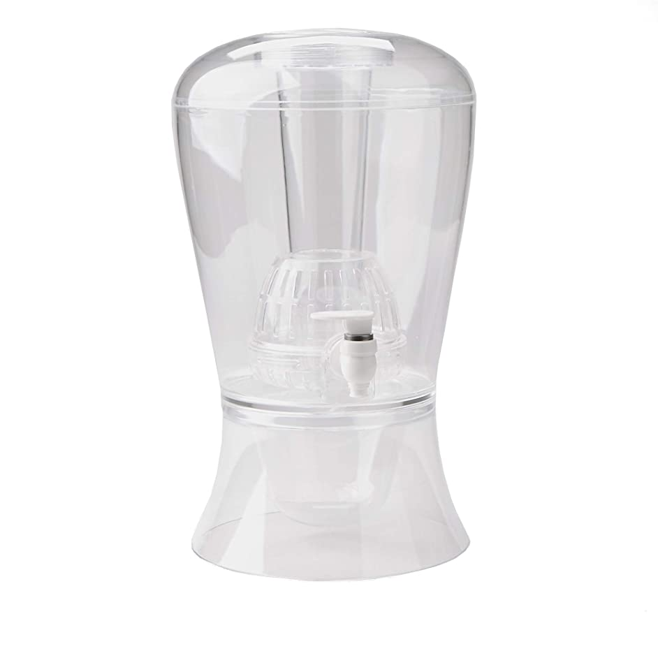 Mind Reader IFBEVD-CLR Beverage Dispenser with Fruit Infuser and Ice Cone, Holder with Lids, Acrylic Drinks Display with Spigots, Clear, One Size,