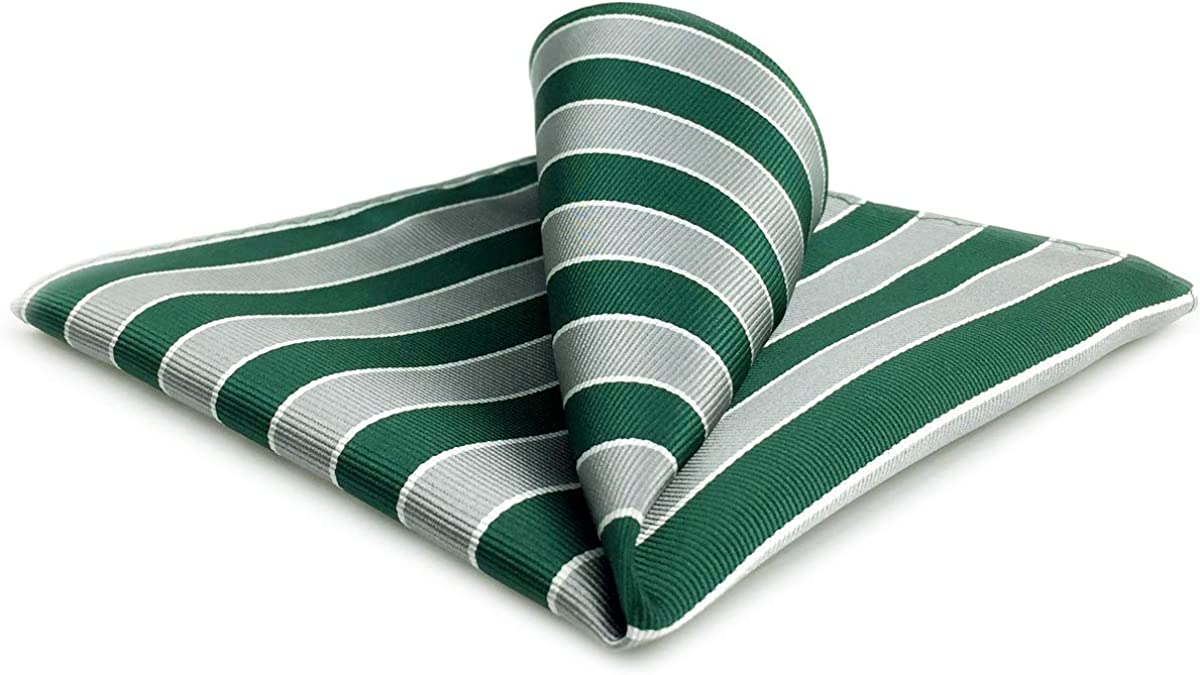 SHLAX&WING Stripes Green Grey Silk Mens Pocket Square Large 12.6 inches Business