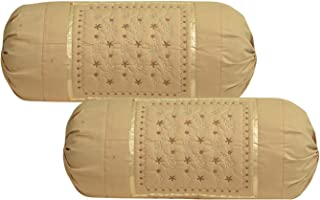 Rj Products™ Cotton Bolsters Cover Beige - Pack of 2 (Beige)