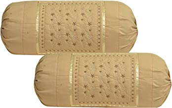 Rj Products Embroidered Cotton Bolsters Cover Beige - Pack of 2