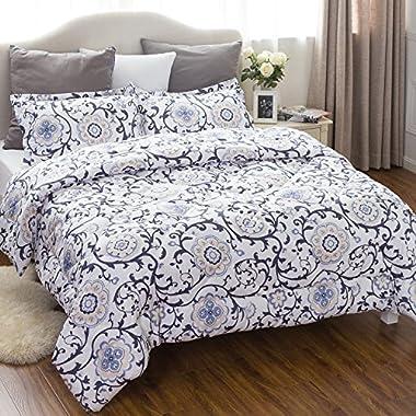 Bedsure King Comforter Set Classics Traditional European Roll Grass Design Down Alternative Comforter 3 Piece (1 Comforter + 2 Pillow Shams)(102 x90 )