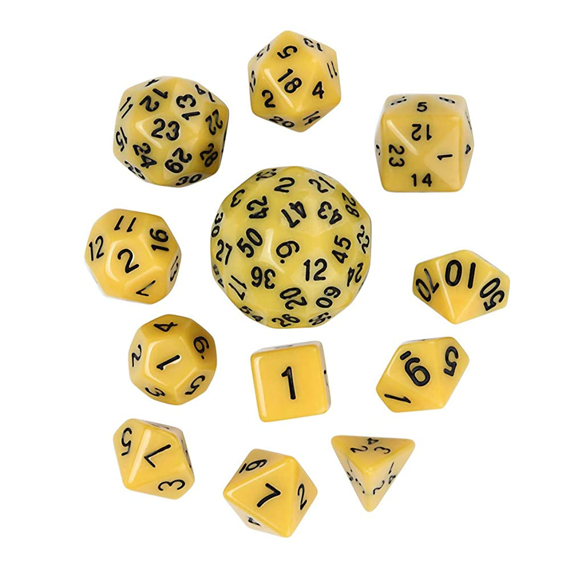 Dreamyth- 12Pcs for Game Dungeons & Dragons Polyhedral D60 Multi Sided Acrylic Dice Practical Gift